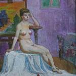 Dailininko dirbtuvėje, 1992, 64x49