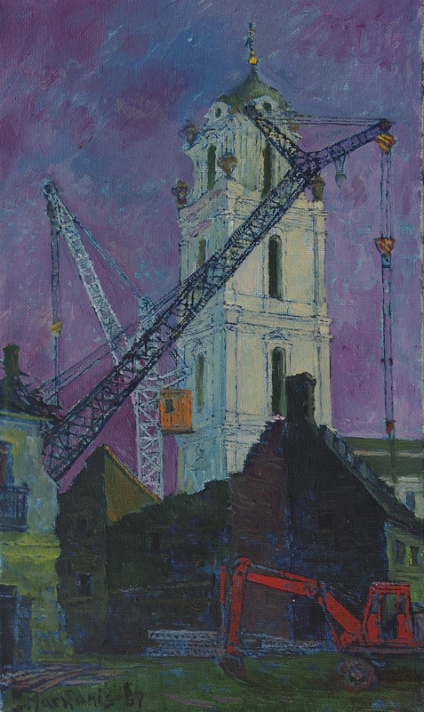 Griuvėsiai prie bažnyčios, 1967, 50x30