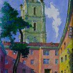 Universiteto kiemelis ir Šv. Jonų bažnyčios vaizdas, 1987, 58x40
